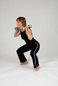 osteoporosis exercises - exercise squat with weights 1