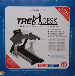 trekdesk treadmill desk review box