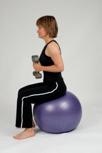 stability ball tricep extension • step 1